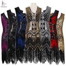 72f486bbc2 Kobiety 1920 s Vintage wielki Gatsby cekiny do sukienki sukienka z dekoltem  w serek frędzle Bodycon