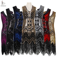 Women 1920 s Vintage Great Gatsby Dress Sequins Dress V Neck Tassels Bodycon Beaded Party Dress Flapper Dresses Art Deco Double