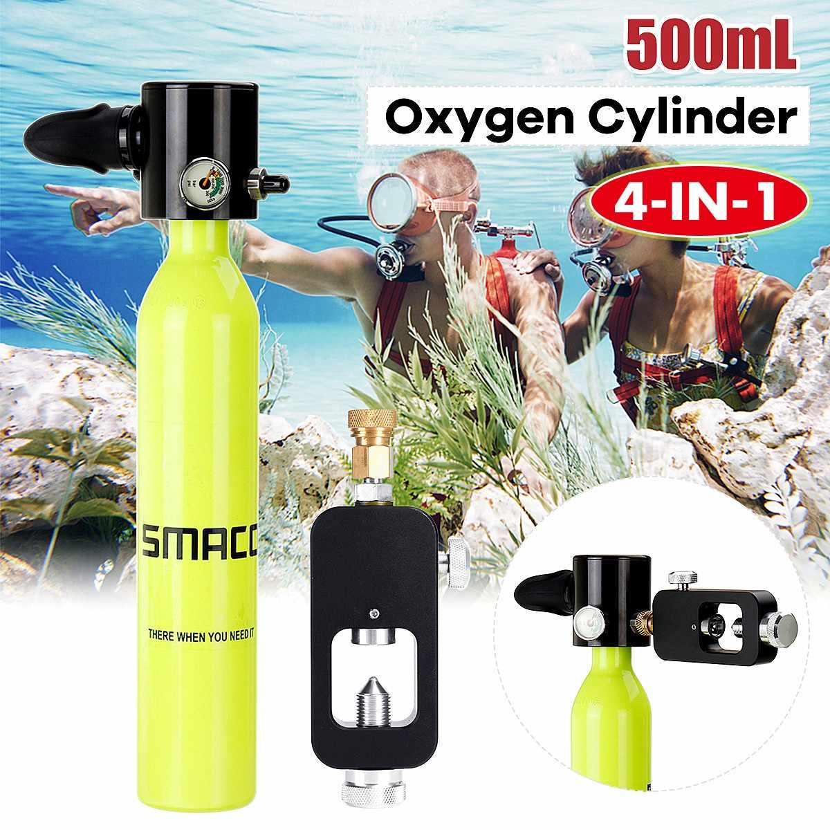 4-en-1 500 mL Smaco Mini equipo de buceo cilindro de oxígeno portátil de aire tanque de oxígeno con aqualung de unión