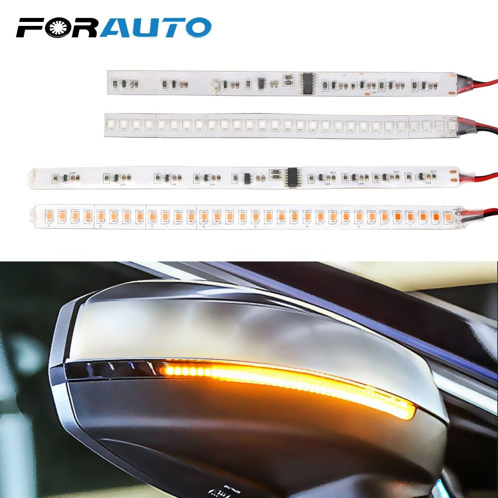 FORAUTO 1 Pair Auto Rearview Mirror Indicator Lamp Car Turn Signal Light Flowing Streamer Strip Moto Water Turn Signal Light