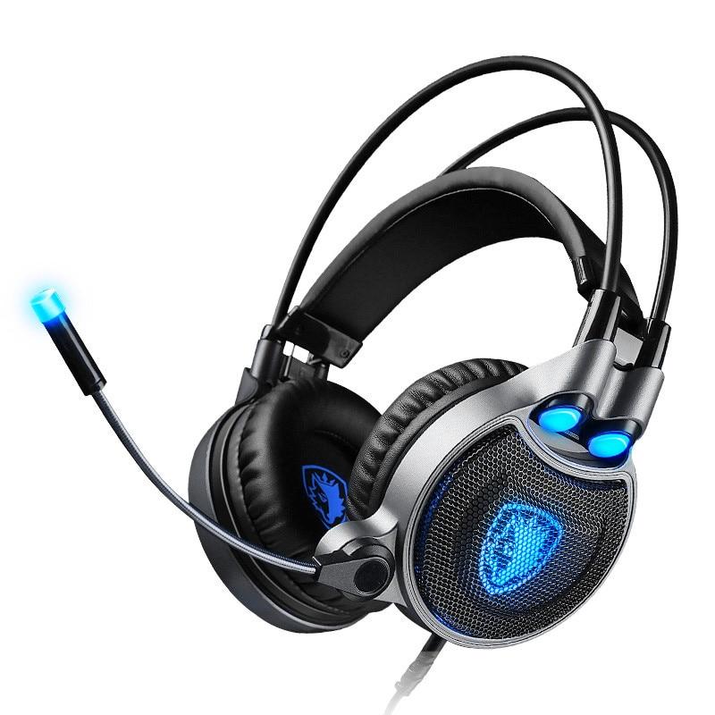 Sades R1 Usb 7.1 Surround son stéréo Vibration casque de jeu avec Microphone lumière LED Pc Gamer casque de jeu pour Comput