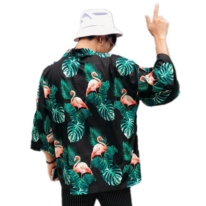 Summer Harajuku Blouse Men Kimono Flamingo Floral Coco Leaf Printed Cardigan Shirts Male Hawaiian Beach Loose Open Stitch Tops