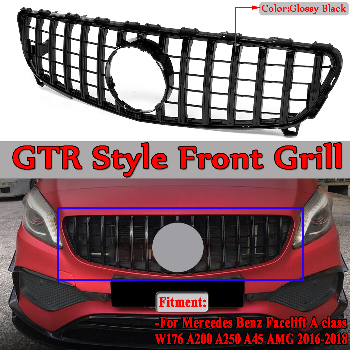 W176 GTR GT R Car Front Bumper Mesh Grills Grille For