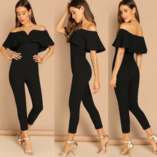 Women Evening Party Jumpsuit One Shoulder High Waist Long Bodycon Playsuit Elegant Black Workwear Solid Jumpsuits