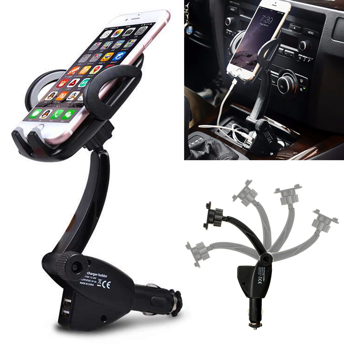Universal Car Cigarette Phone Holder Mount Stand ABS Dual USB Charger Cigarette Lighter Mount Cell Phone GPS MP4 Holder Cradle