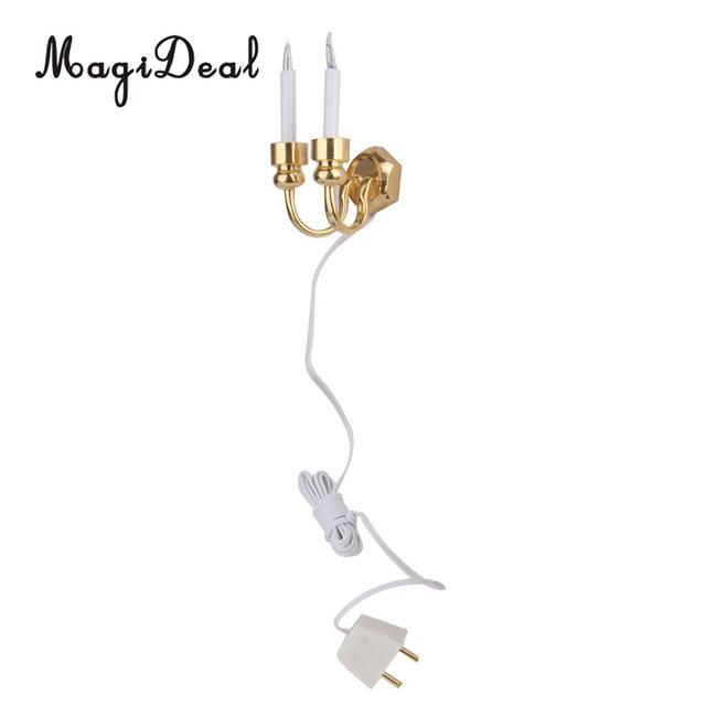 1/12 Scale Dollhouse Miniature Double Headed Light Wall Lamp With