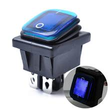 Rocker Toggle Switch On-Off-On 4 Pins 12V DC Car Boat Automobiles Waterproof LED Latching Switches (Blue Light)(China)