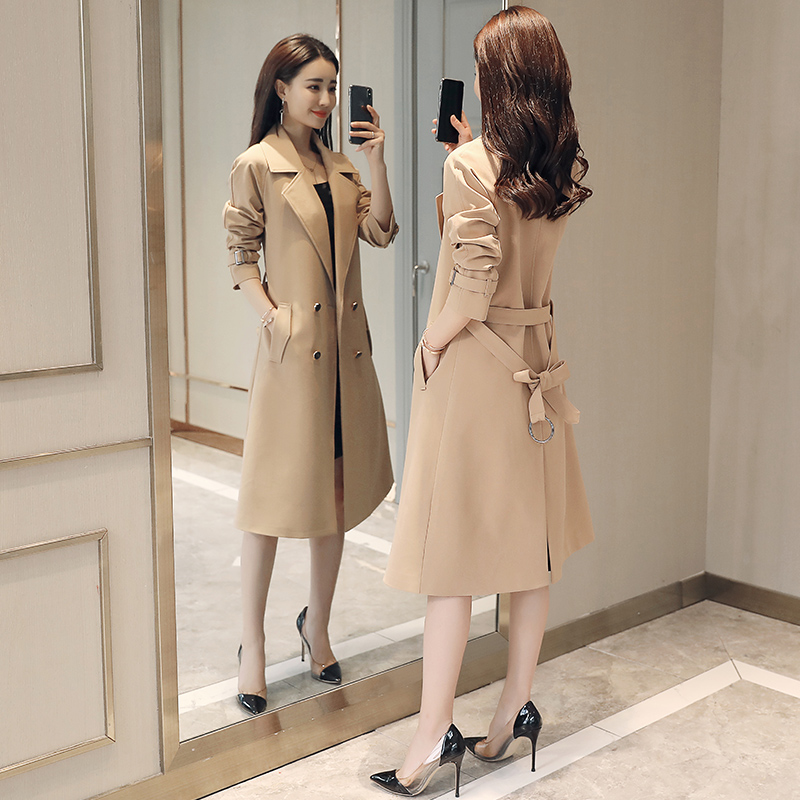 4XL large size   trench   coat double-breasted spring autumn women's windbreaker belt long section coat female spring