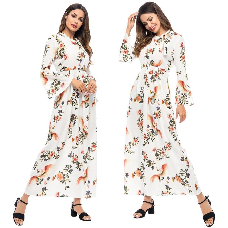 Women Kaftan Abaya Islamic Muslim Cocktail Long Sleeve Long Maxi Dress