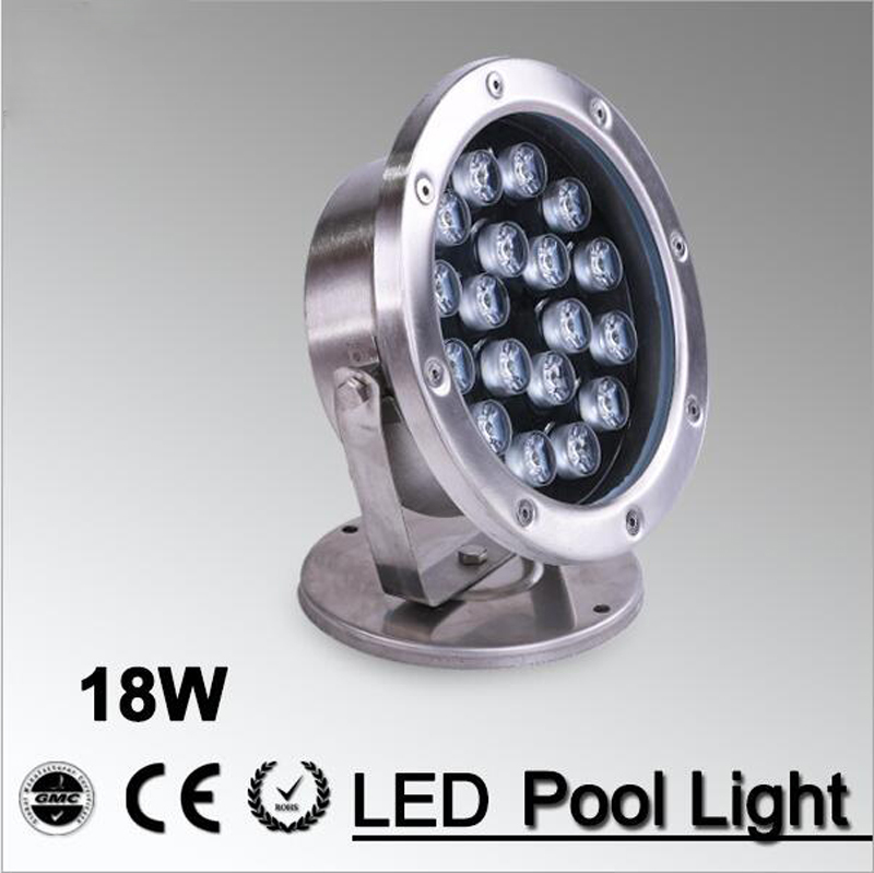 18W LED Fountain Lamp Underwater Lighting Stainless Steel IP68 Safety AC12V/ 24v Swimming Pool/Ponds/Outdoor Recessed Lighting underwater lights rgb led swimming pool light 24v ip68 waterproof 27w 316 stainless steel colorful changeable fountain lamp