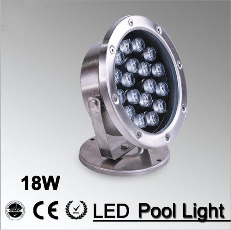 US $65.34 10% OFF|18W lampa LED fontanna oświetlenie podwodne stal nierdzewna IP68 bezpieczeństwo AC12V 24v basenstawyzewnętrzna do wbudowania