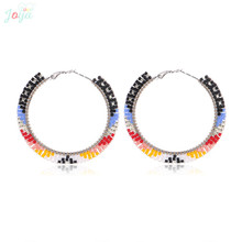Badu Bohemian Hoop Earring Colorful Japanese Seed Beads Crochet Round Earrings for Women Party Jewelry Holiday Gift Wholesale