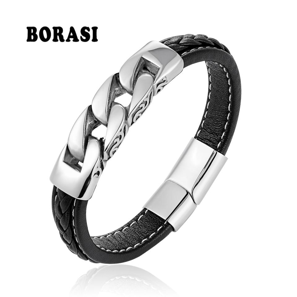 BOBASI Genuine Leather Titanium Steel Men's Bracelets & Bangles Handmade Wristband Pulseras Charm Bracelets Gift For Cool Boys