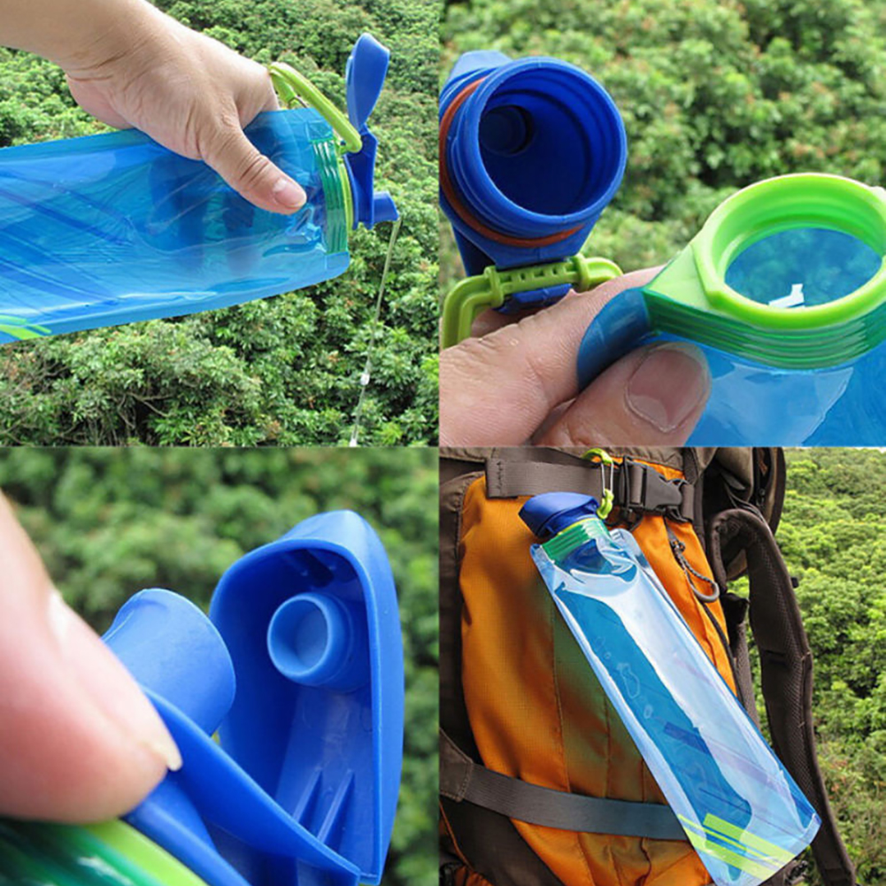 Image 2 - New Fashion 700ml Reusable Foldable Flexible Water Bottle Pouch Bag Camping Hiking Tool-in Water Bags from Sports & Entertainment