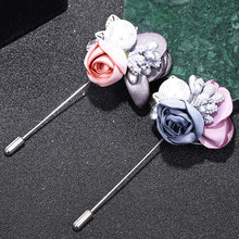 Rhinestone Flower Pink Lace Handmade 1PC Gray Silver Color Simulated Pearl Cardigan Sweater Crystal Cloth Colorful Alloy Brooch(China)