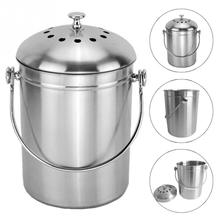 1pc Recycling Container Lid Bucket Hotel Stainless Steel Compost Trash Can Durable Home Bin Ashbin Pericarp Holder 28*18 cm