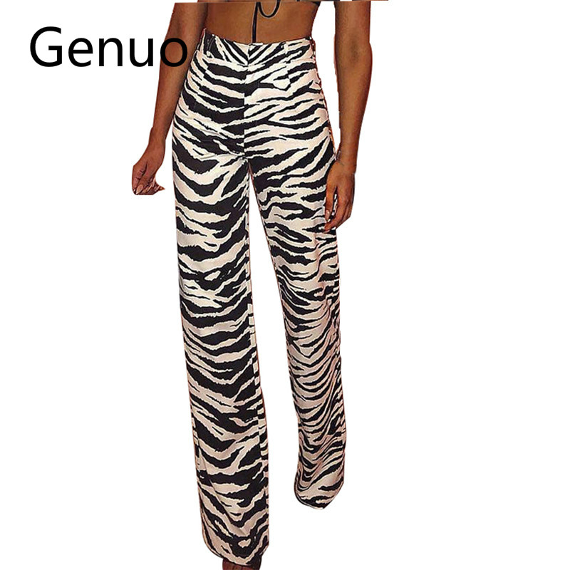 Zebra Striped Zipper Fly Long   Pants   Women High Waist Slim Fit Straight Trousers Female Fall Winter 2019 Casual   Pants     Capris