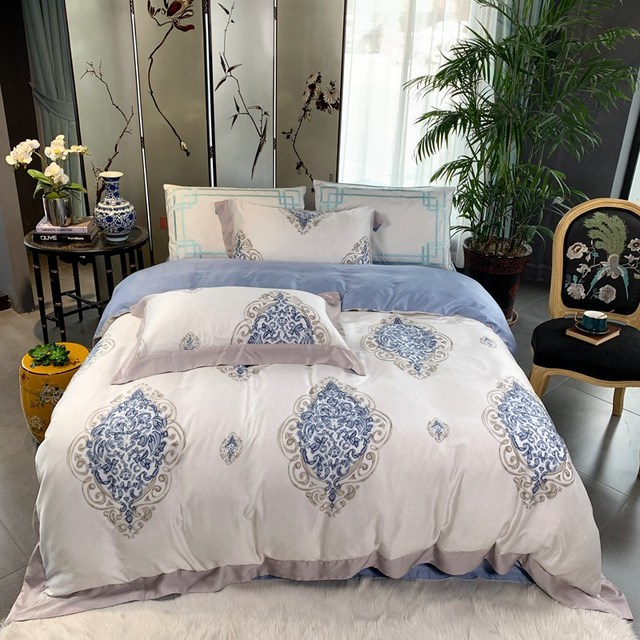 100% bamboo fiber satin bedding set Chinese Classical style duvet cover set blue Bohomian silk feeling bed linen king queen size