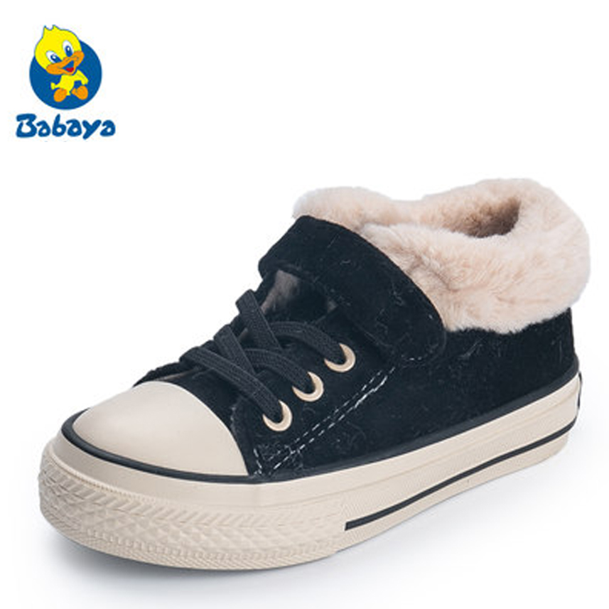 2019 Winter Kids Boots Brand Boys Girls Warm Canvas Sneakers Fashion Footwear Children Casual Shoes Plush Non Slip Sport Shoes