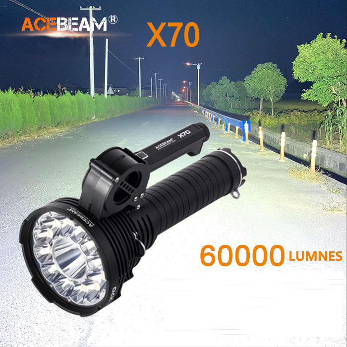 2018 New Acebeam X70 12 Cree XHP70.2 and a Cree XHP35 HI chip 60000 lumens with 1115metre beam flashlight2018 New Acebeam X70 12 Cree XHP70.2 and a Cree XHP35 HI chip 60000 lumens with 1115metre beam flashlight