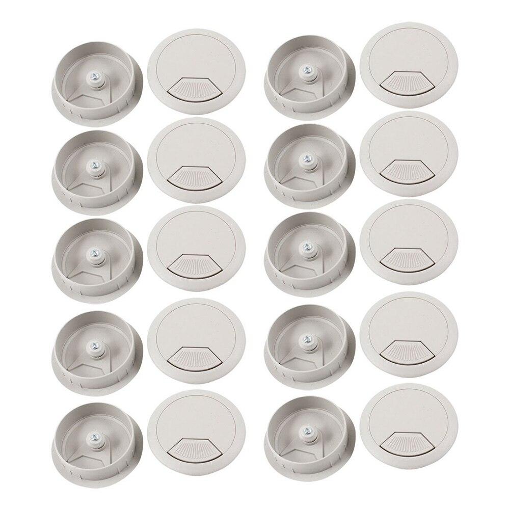 Promotion! PC  Desk Gray Plastic 50mm Diameter Grommet Cable Hole Cover 20 Pcs