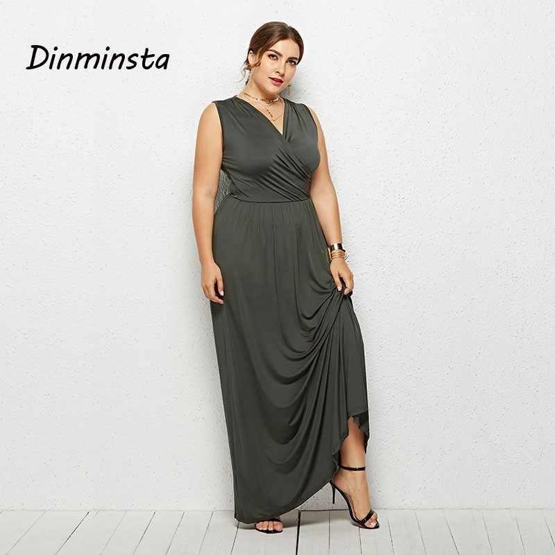 e77bdb5305 Dinminsta 2019 Spring Lady Long Maxi Dresses Plus Size Women Sleeveless  V-Neck Loose Frock Elegant Vintage Weedkend Casual Dress