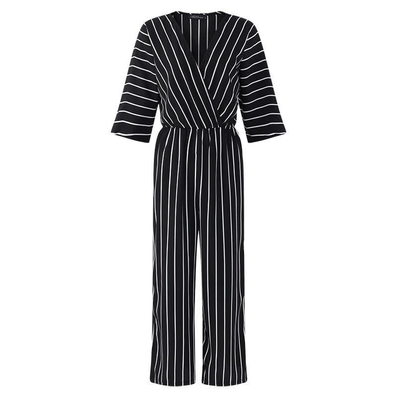 94235282b632 Fashion ZANZEA 2018 Women Jumpsuit Summer Casual Wide Leg Pant V-neck Short  Sleeve Striped