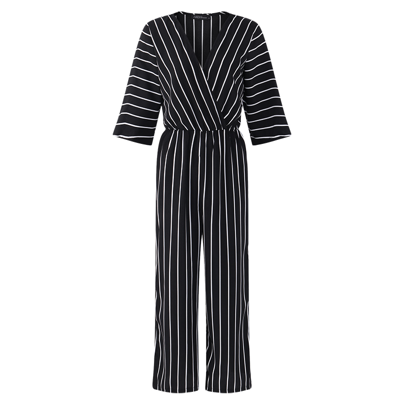 Fashion ZANZEA 2018 Women   Jumpsuit   Summer Casual Wide Leg Pant V-neck Short Sleeve Striped Rompers Office Long Playsuit Bodysuit
