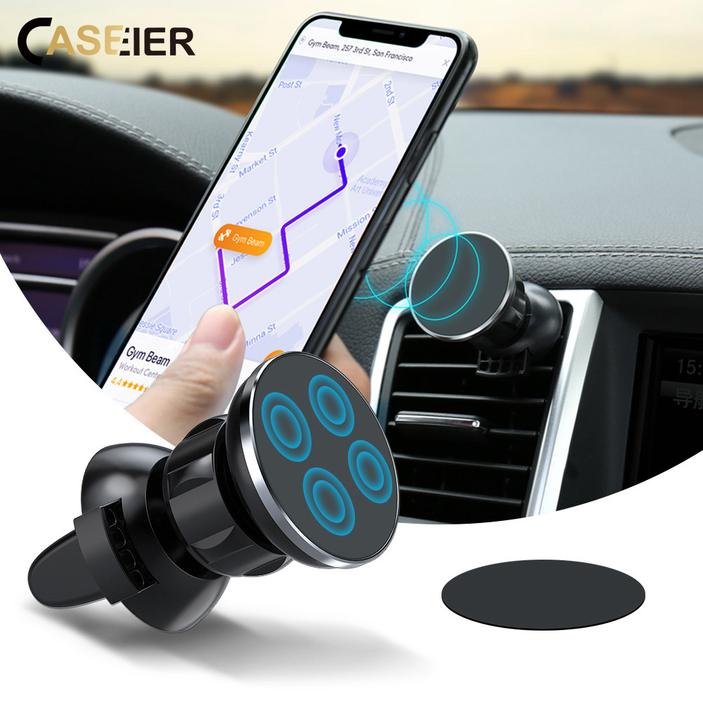 CASEIER Magnetic Car Phone Holder For Pocophone F1 Huawei 360 Degrees Rotation Air Vent Mount GPS Smartphone Car Holder Support 360 degrees