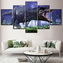 High Quality Canvas Printed Big Dinosaur Paintings 5 Pieces Modular Picture Wall Art Decorative Living Room Or Bedroom Framework