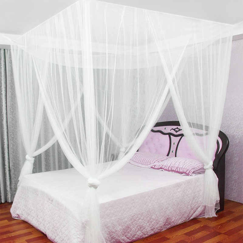 190x210x240cm European Style 4 Corner Post Bed Canopy Mosquito Net Full Netting Bedding Bedroom Decoration Hanging Bed Valance