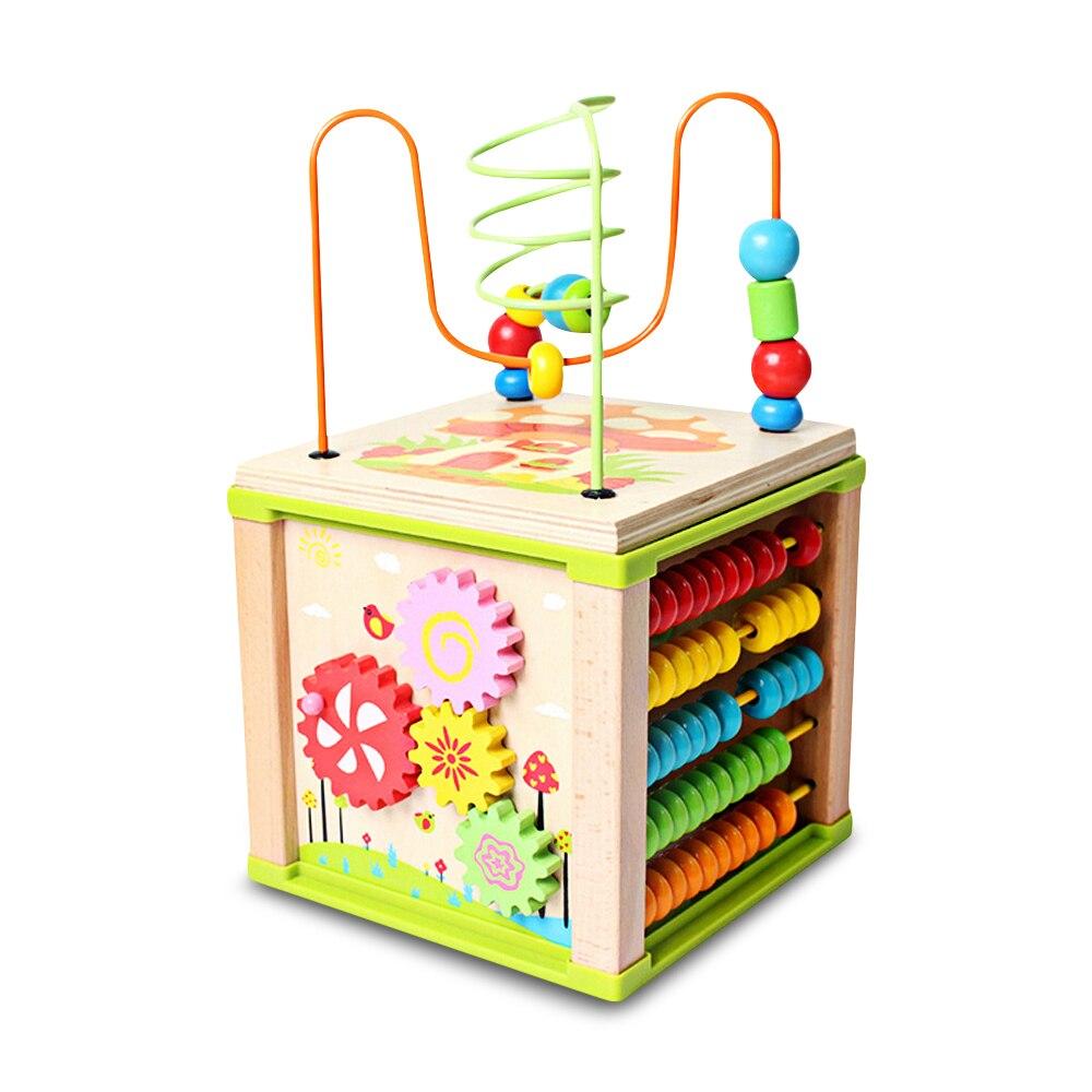 Jouet éducatif multifonctionnel de Cube d'activité de labyrinthe de perle d'apprentissage en bois d'enfants