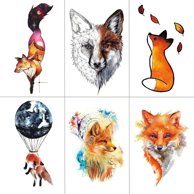 HXMAN Watercolor Fox Temporary Tattoo Sticker for Waterproof Women Fake Body Art Adult Fashion Hand Tatoo Sticker 9.8X6cm A-020