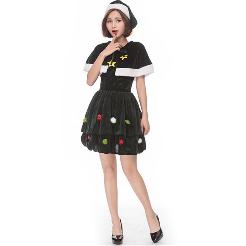 Cute Women Christmas Tree Costume Cosplay Adult Fantasy Party Cosplay