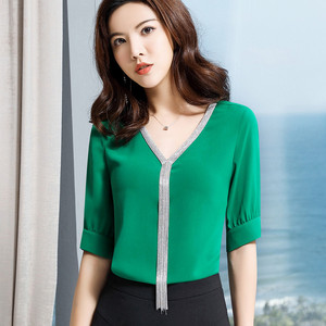 Image 5 - エレガントなシャツ女性プロ服新夏のファッション気質 v ネックシフォン半袖ブラウスプラスサイズトップス