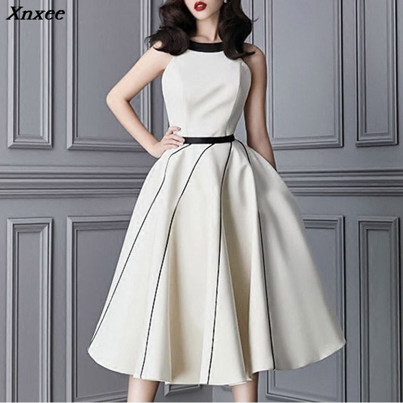 Xnxee Women Dress Casual A Line Sexy Spaghetti Strap Backless Knee Length Bow Lady Party Dress Vestidos 2019 Xnxee in Dresses from Women 39 s Clothing