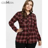 CosMera Plaid Shirt Women Jacket Casual Slim Hooded Long Sleeves Pockets Shirts Ladies Tops Fall Shirt Female Clothes Plus Size