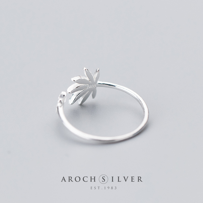 Image 3 - Factory Price 100% 925 Sterling Silver Fashion Concise Maple Leaf Open Ring Fine Jewelry for Female-in Rings from Jewelry & Accessories