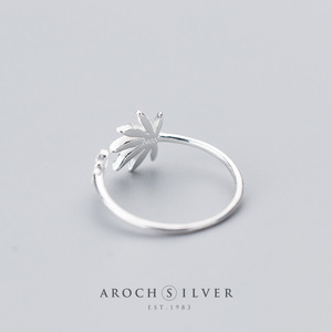 Image 3 - Factory Price 100% 925 Sterling Silver Fashion Concise Maple Leaf Open Ring Fine Jewelry for Female