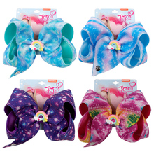 ncmama Hair Accessories 8 Inch large Bows for Girls Cute Rainbow Linen Printed Hairbows with Alligator Clips Kids Hairgrips