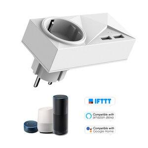 Image 2 - Wi fi Tomada Inteligente Mini 2 Saídas Duplas Portas USB Tomada Inteligente com Monitoramento De Energia & Função de Temporização, controle de voz Compatível