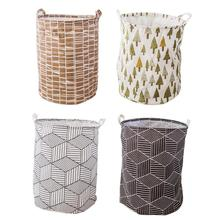 Nordic Geometric Large Storage Bucket Cotton Folding Toy Clothes Organizer Waterproof Cloth Hotel Laundry Basket Waterproof