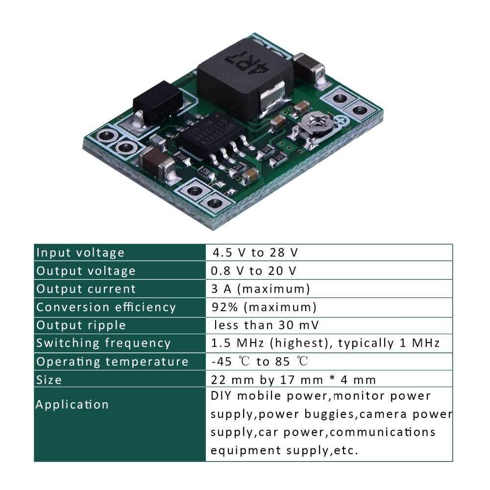Ultra-petit Mini DC-DC abaisseur Module d'alimentation 3A réglable Buck convertisseur pour Arduino remplacer LM2596 24V à 12V 9V 5V 3V