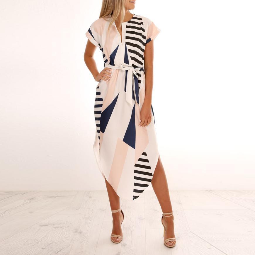 As mulheres Se Vestem de Impressão Irregular de Manga Curta Vestido de Verão Cintura Fina Assimétrica Vestido Ropa Mujer