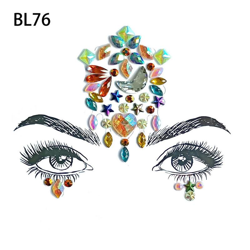 Face Jewels Glitter Mermaid Eyes Tears Gems Stones Jewelry Stickers ... f54a29a39e28