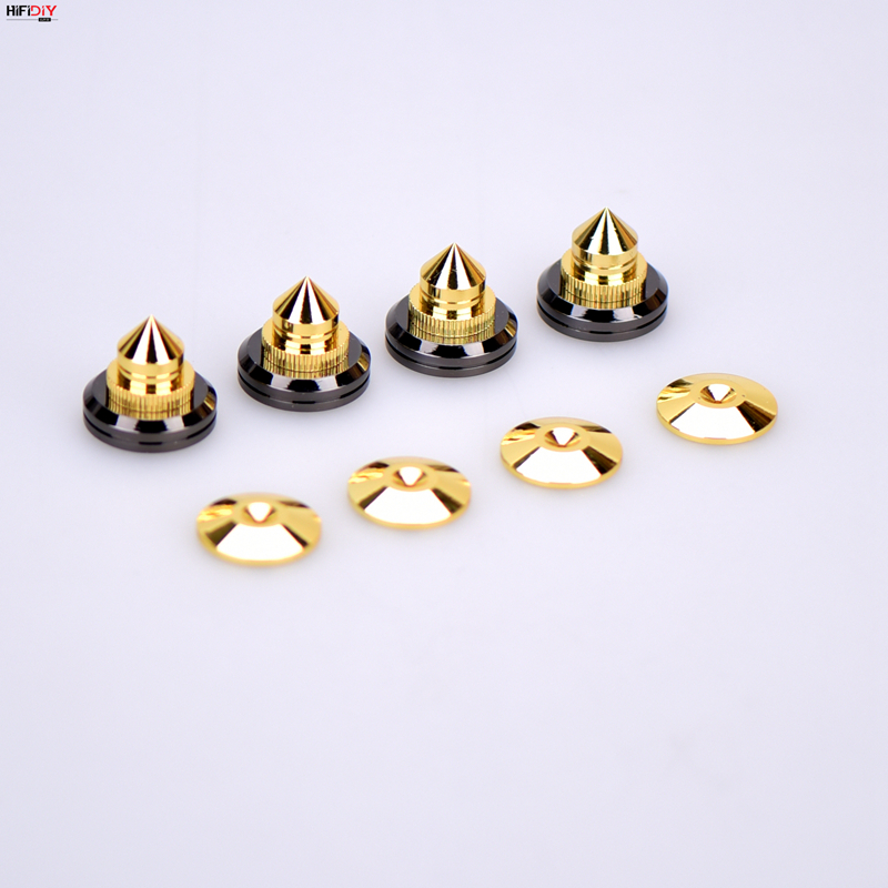 HIFIDIY LIVE 4 Sets Or 4 PCS Speaker Stand Feet Foot Pad Zinc Alloy Metal (NOT Pure Copper) Spikes Cone Floor Foot Nail M28*26