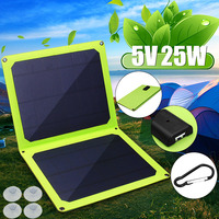25W Portable Solar Panel 5V with USB Socket for Outdoor Foldable Solar Energy Cell Solar Battery for Cell Phones/Digital camera