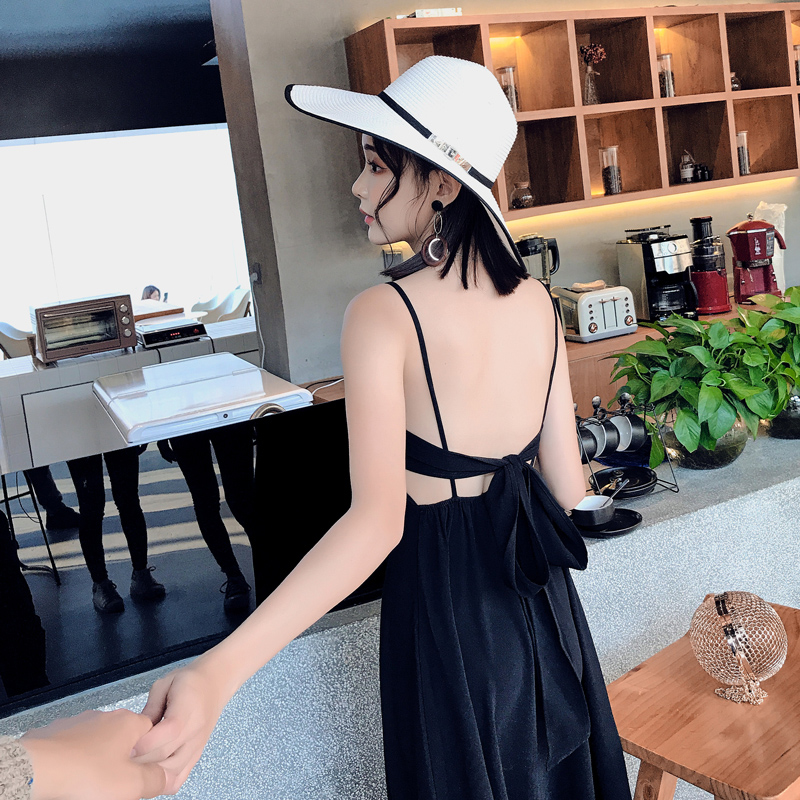 2019 spring summer new backless dress show waist bowknot belt sexy condole nightclub party dress Vestido super smooth in Dresses from Women 39 s Clothing