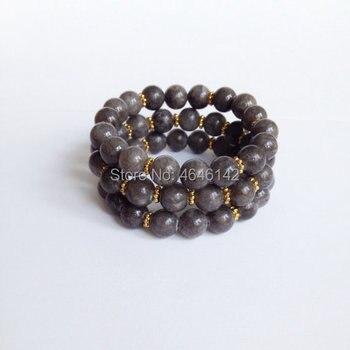 Boho Chic Stone Beads Stretch Bracelet,Gold Accent Spacer Beads Stack Bracelet