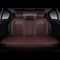 4pcs Car Seat Rear Cushion Cover PU Leather Needlework For 5 Seat Car 4 Season Use Black and White Black and Red Beige